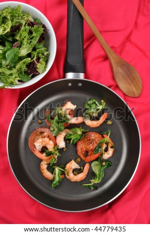 mediterranean pan with prawn and caper