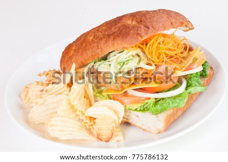 Mediterranean roast chicken sandwich with chips