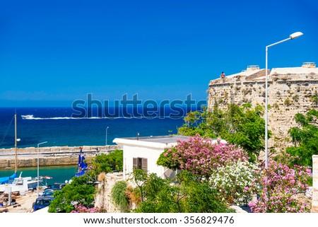 Mediterranean sea and Kyrenia Castle. Cyprus - stock photo