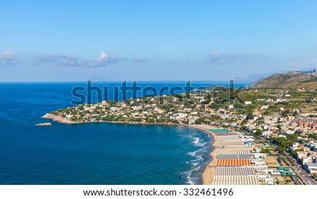 Mediterranean Sea coastal landscape. Wide public beach of Gaeta, Italy - stock photo