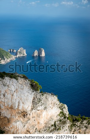Mediterranean Sea from a cliff top on Capri, Italy.   - stock photo