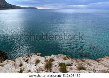 Mediterranean sea in cloudy weather, Greece