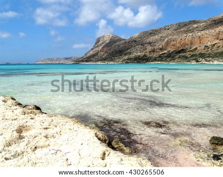 mediterranean sea landscape view of beach and mountains on Crete island