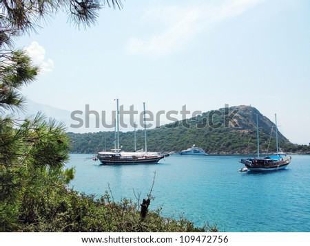 mediterranean sea landscape view of coast and mountains - stock photo