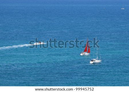 Mediterranean Sea Scene. Magnificent colorful yachts. - stock photo