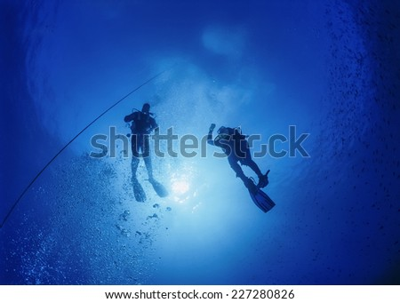 Mediterranean Sea, U.W. photo, scuba divers decompressing after a deep dive - FILM SCAN - stock photo