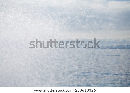 Mediterranean Sea. Waves are glancing off the boat. Small water drops in the air. Macro perspective, nobody, sea view. Beautiful landscape, background. - stock photo