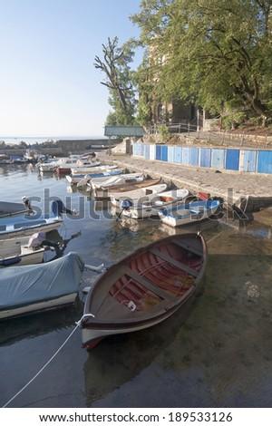 Mediterranean Seaside Boat in Harbor Opatija Croatia - stock photo