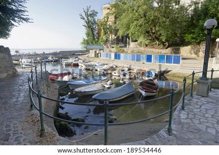 Mediterranean Seaside Small Harbor Opatija Croatia - stock photo
