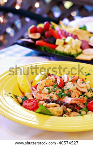 Mediterranean shrimp with sauteed vegetables and white beans