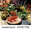 Mediterranean still life with healthy food ingredients - stock photo