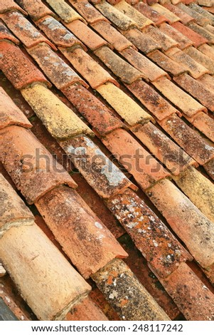 Mediterranean style of ceramic roof tiles on an old building in Dubrovnik, Croatia - stock photo