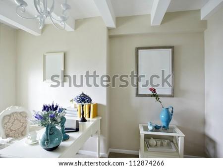Mediterranean style of study room - stock photo