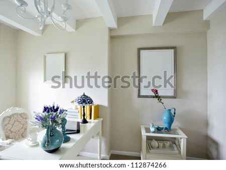Mediterranean style of study room interiors - stock photo