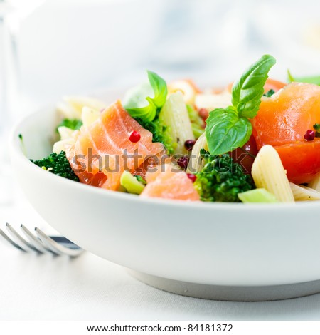 Mediterranean-style pasta salad with salmon - stock photo