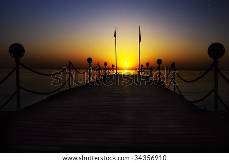 Mediterranean sunrise in summer morning. Sun over sea. - stock photo