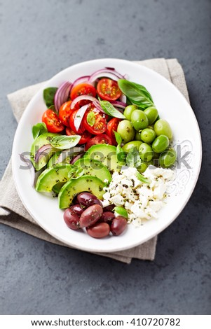 Mediterranean Vegetable Bowl with Feta Cheese and Olives - stock photo