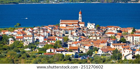 Mediterranean village Betina on the hill by the sea, Island of Murter, Croatia - stock photo