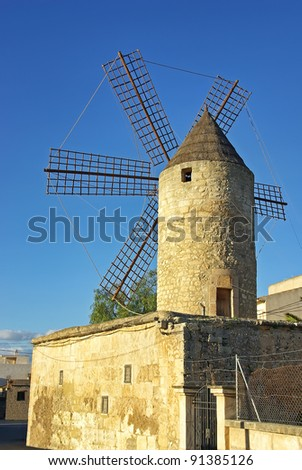 Mediterranean Windmill in Manacor (Majorca - Spain) - stock photo