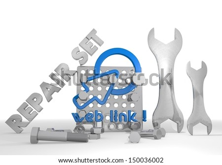 Medium blue  isolated tool 3d graphic with mechanical web link symbol repair set - stock photo