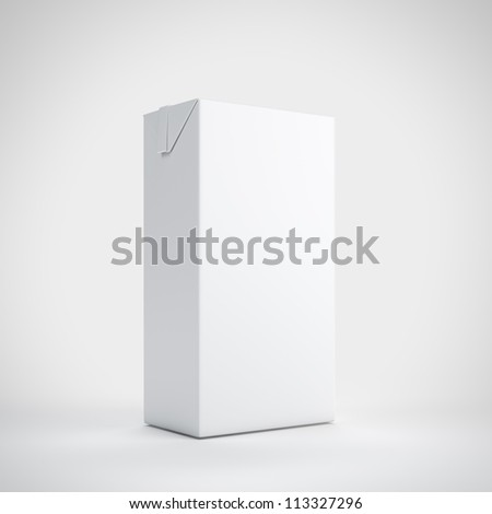 Medium milk white carton package - stock photo