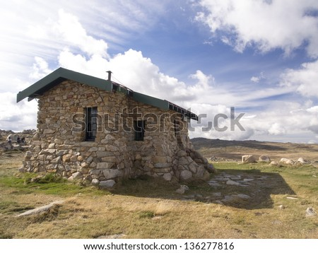 Medium view of Seaman's Hut on the track up to Mount Kosciuszko - stock photo