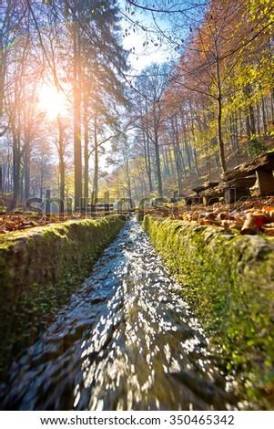 Medvednica mountain creek vertical view, Kraljicin zdenac, Zagreb, Croatia - stock photo