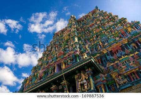 Meenakshi hindu temple in Madurai, Tamil Nadu, South India - stock photo
