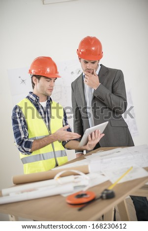 meeting about a build project - stock photo