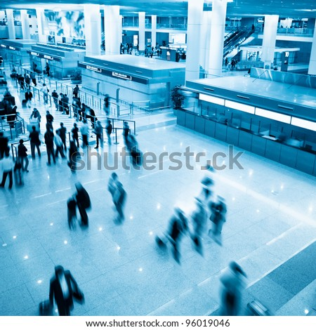 meeting at the airport in shanghai - stock photo