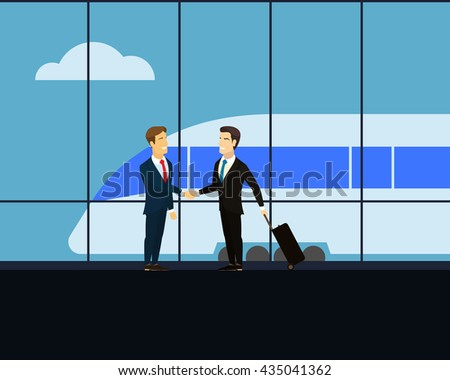 Meeting at the railway station. Two businessman shaking hands. Businessman with luggage on wheels with a business trip. High-speed train at the railway station. Cloud in the sky. Flat illustration.