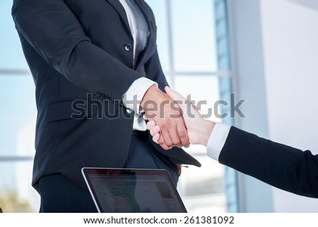 Meeting business partners. Two businessman shaking hands with each other in the office - stock photo