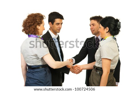 Meeting business people making acquaintance isolated on white background - stock photo