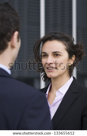 Meeting businesspeople outside - stock photo