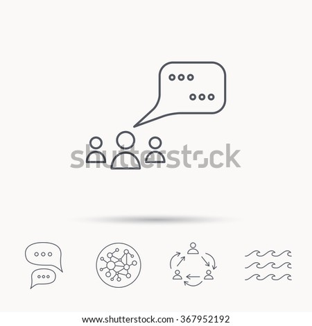 Meeting icon. Chat speech bubbles sign. Speak balloon symbol. Global connect network, ocean wave and chat dialog icons. Teamwork symbol. - stock photo