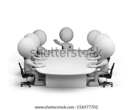 Meeting in conference room. 3d image. White background. - stock photo