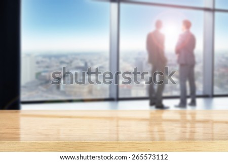 meeting in office and desk of yellow color  - stock photo