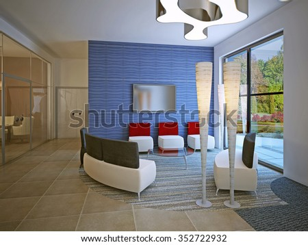Meeting place in high school with mixed flooring and modern furniture. White ottomans with red and black back. 3D render