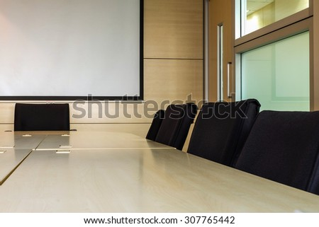 Meeting room after finish meeting , close meeting room view in the office - stock photo