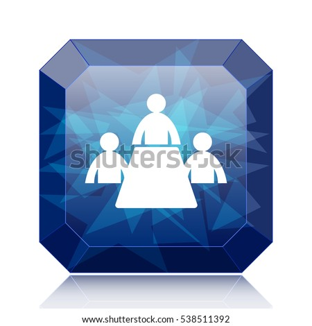Meeting room icon, blue website button on white background.