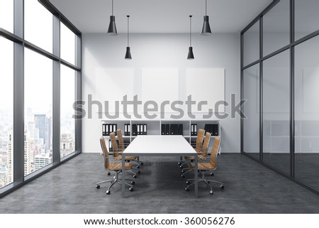 Meeting room in office building, French window to the left with New York view, big white rectangular table and six brown leather armchairs around. White board on the back wall. Concept of negotiations - stock photo