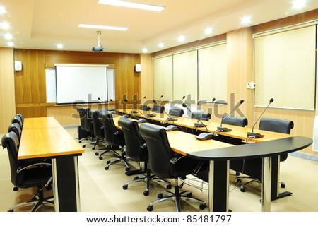 meeting room interior - stock photo