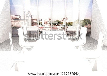 Meeting room with window over London landscape (original photo is mine), 3d render, horizontal image - stock photo