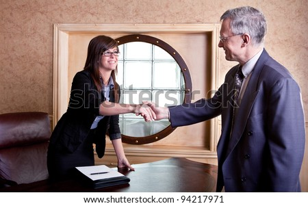 Meeting the big boss - stock photo