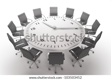 Meeting time - round table with a large clock face - stock photo