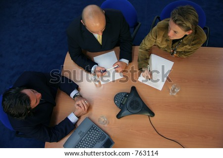 Meeting viewed from above - stock photo