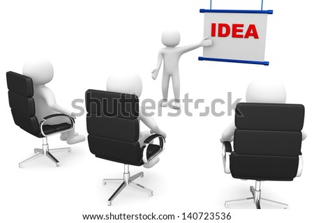 meeting with a 3d people in a presentation - 3d render - stock photo