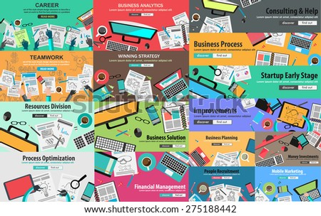 MEGA PACK of Flat Style Design Concepts for business strategy and career. Ideal for corporate brochures, flyers, digital marketing, product or idea presentations, web banners and so on . - stock photo