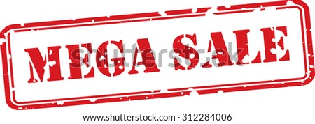 Mega sale red grunge rubber stamp on white background. - stock photo