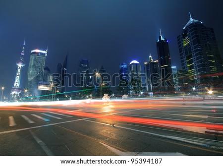 Megacity Highway at night dusk light trails in shanghai pudong China - stock photo